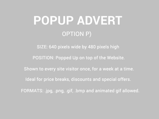 PopUp Advert Size